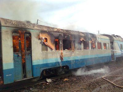 В электричке, следовавшей из Данилова, загорелся один из вагонов.