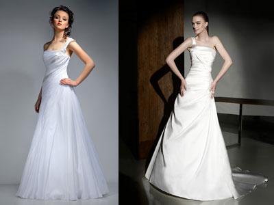 Атласное свадебное платье А-силуэта на асимметричной бретельке...